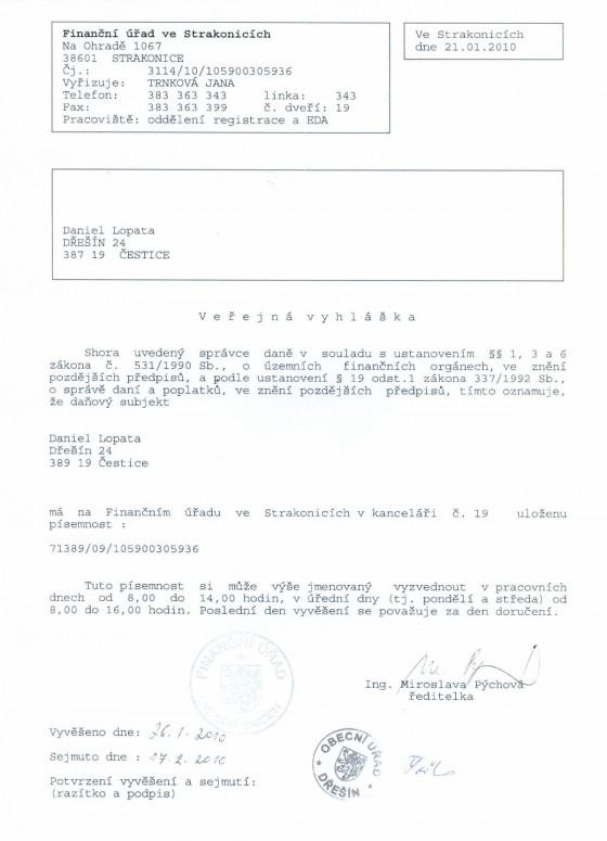 Vyhláška p. D. Lopata