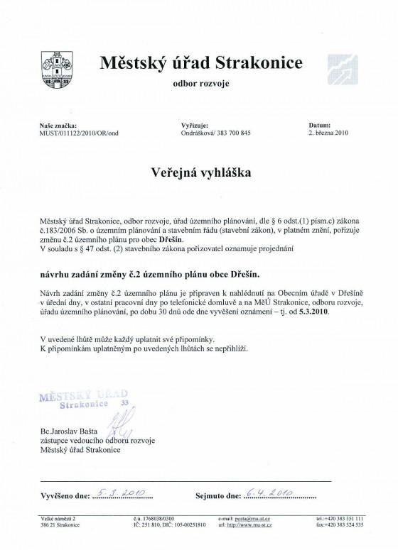 Návrh zadání změny č.2 ÚP Dřešín